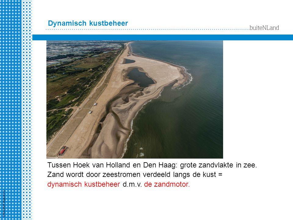 Dynamisch kustbeheer Tussen Hoek van Holland en Den Haag: grote zandvlakte in zee. Zand wordt door zeestromen verdeeld langs de kust = dynamisch kustb
