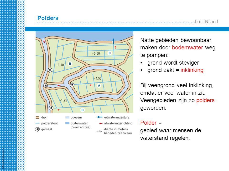 Polders Natte gebieden bewoonbaar maken door bodemwater weg te pompen: grond wordt steviger grond zakt = inklinking Bij veengrond veel inklinking, omd