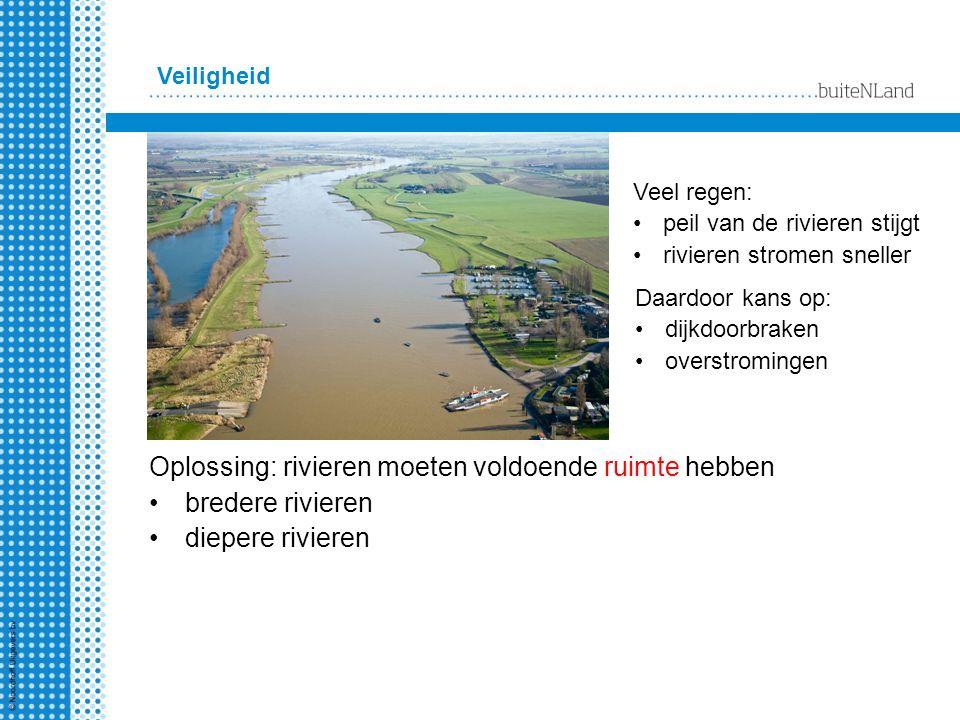Veiligheid Oplossing: rivieren moeten voldoende ruimte hebben bredere rivieren diepere rivieren Veel regen: peil van de rivieren stijgt rivieren strom