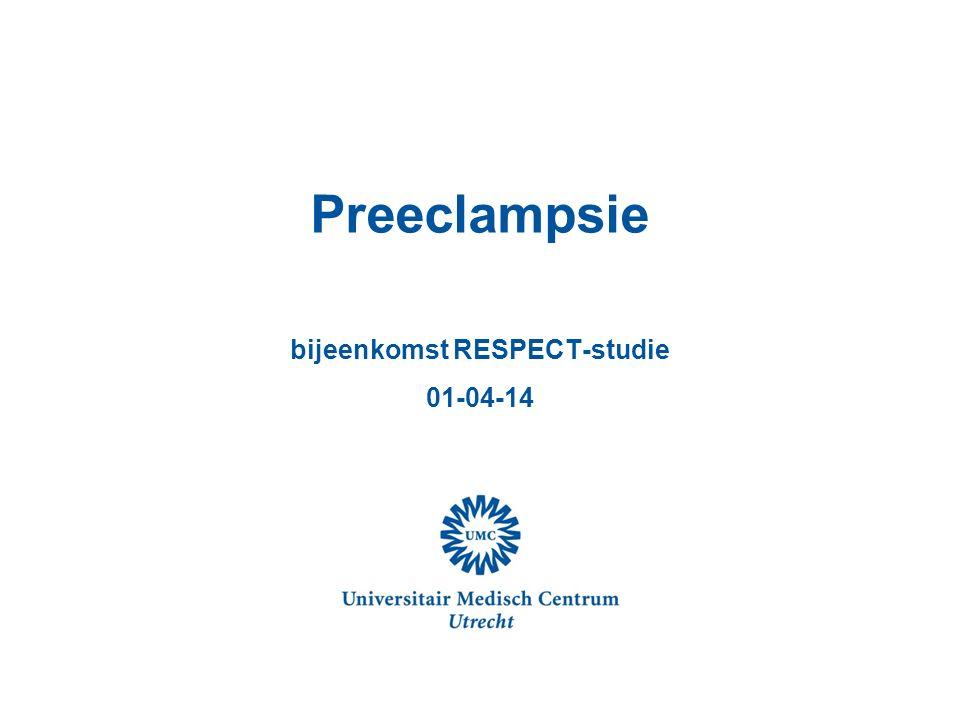 Preeclampsie belangrijk obstetrische probleem Hypertensieve aandoeningen 10 % alle zwangerschappen 4 % primigravida preeclampsie Grootste oorzaak maternale sterfte Belangrijke oorzaak dysmaturiteit, prematuriteit, neonatale morbiditeit en mortaliteit