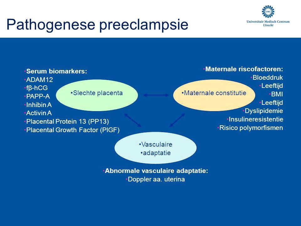 Pathogenese preeclampsie Maternale constitutieSlechte placenta Vasculaire adaptatie Maternale riscofactoren: Bloeddruk Leeftijd BMI Leeftijd Dyslipidemie Insulineresistentie Risico polymorfismen Abnormale vasculaire adaptatie: Doppler aa.
