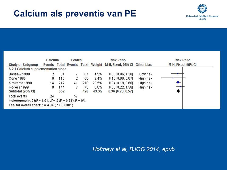 Calcium als preventie van PE Hofmeyr et al, BJOG 2014, epub
