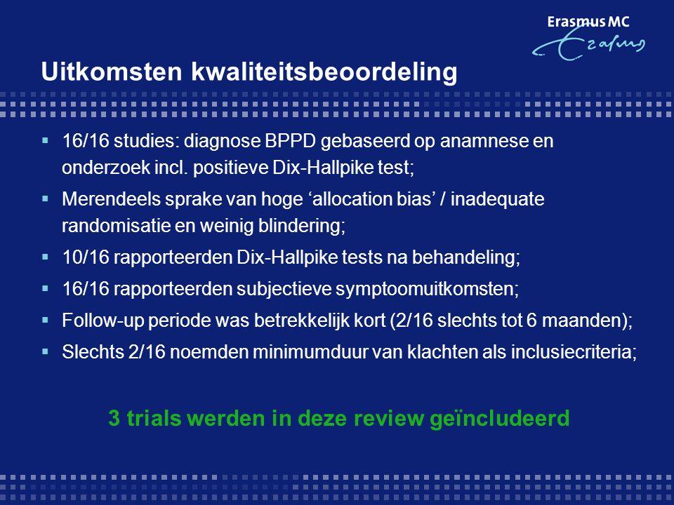 Uitkomsten kwaliteitsbeoordeling  16/16 studies: diagnose BPPD gebaseerd op anamnese en onderzoek incl.