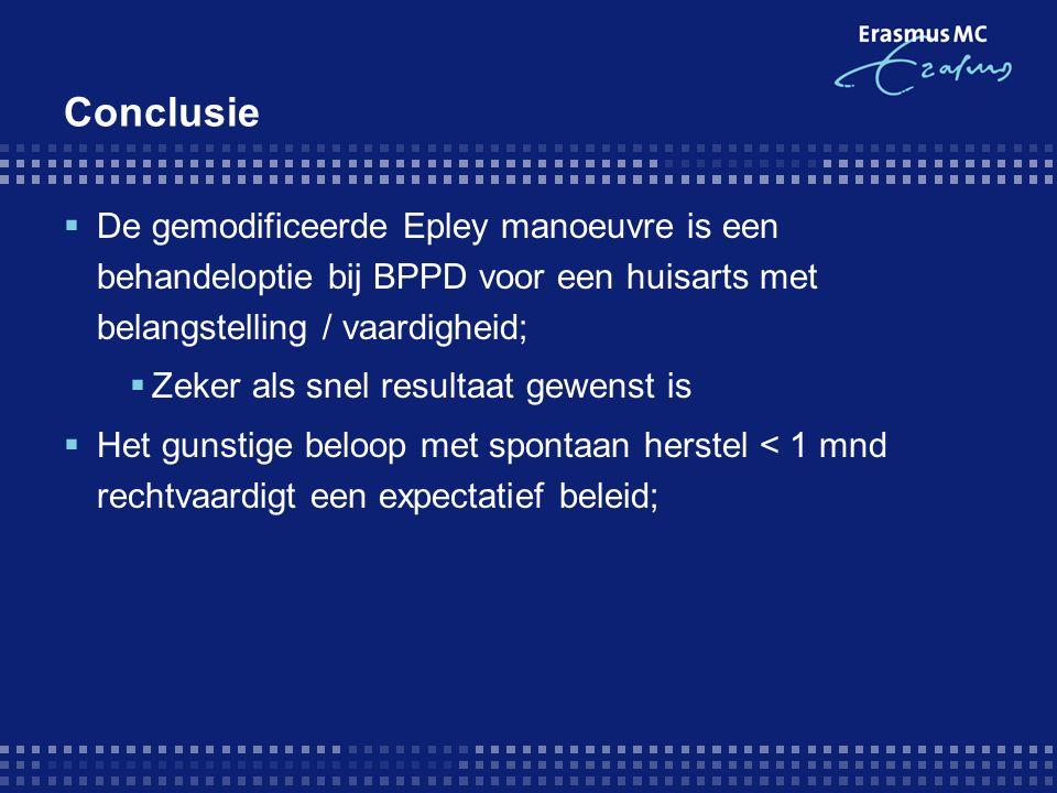 Conclusie  De gemodificeerde Epley manoeuvre is een behandeloptie bij BPPD voor een huisarts met belangstelling / vaardigheid;  Zeker als snel resultaat gewenst is  Het gunstige beloop met spontaan herstel < 1 mnd rechtvaardigt een expectatief beleid;