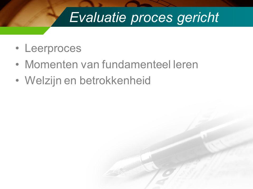 Evaluatie proces gericht Leerproces Momenten van fundamenteel leren Welzijn en betrokkenheid
