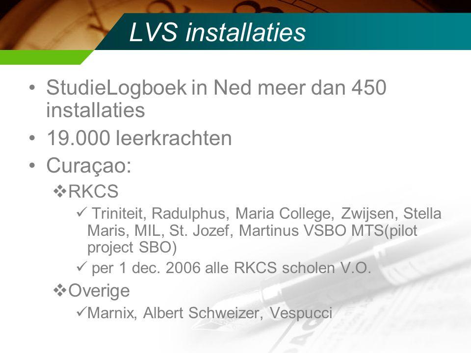 LVS installaties StudieLogboek in Ned meer dan 450 installaties 19.000 leerkrachten Curaçao:  RKCS Triniteit, Radulphus, Maria College, Zwijsen, Stella Maris, MIL, St.