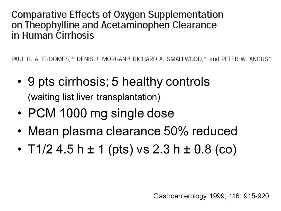 9 pts cirrhosis; 5 healthy controls (waiting list liver transplantation) PCM 1000 mg single dose Mean plasma clearance 50% reduced T1/2 4.5 h ± 1 (pts) vs 2.3 h ± 0.8 (co) Gastroenterology 1999; 116: 915-920