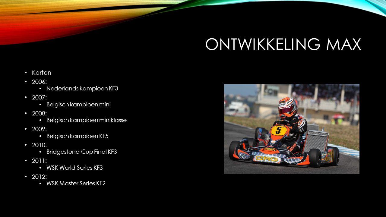 ONTWIKKELING MAX Karten 2006: Nederlands kampioen KF3 2007: Belgisch kampioen mini 2008: Belgisch kampioen miniklasse 2009: Belgisch kampioen KF5 2010: Bridgestone-Cup Final KF3 2011: WSK World Series KF3 2012: WSK Master Series KF2