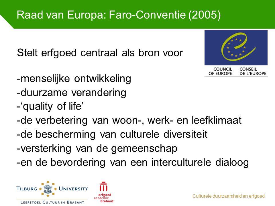 Raad van Europa: Faro-Conventie (2005) Culturele duurzaamheid en erfgoed Stelt erfgoed centraal als bron voor -menselijke ontwikkeling -duurzame veran