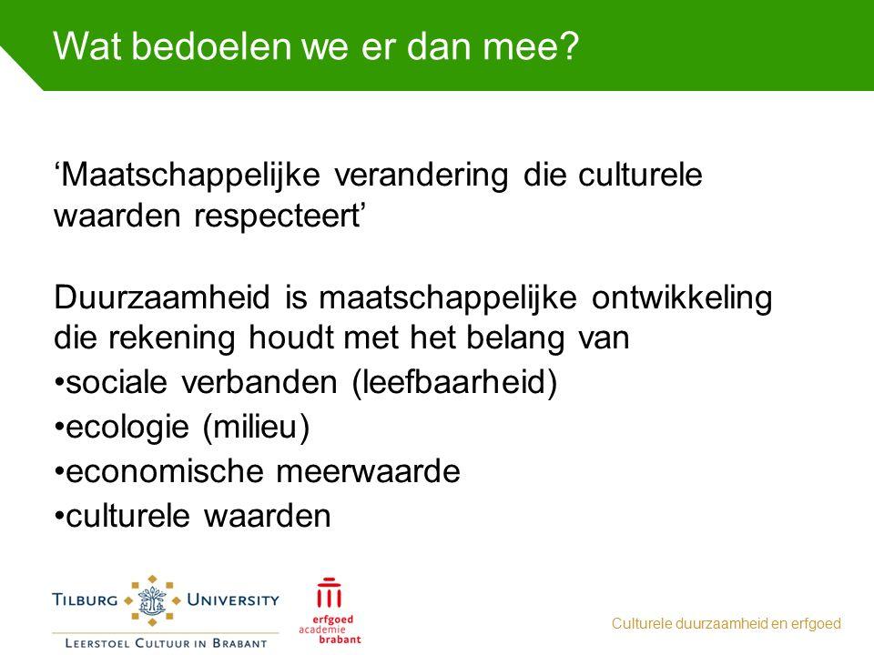 Wat bedoelen we er dan mee? Culturele duurzaamheid en erfgoed 'Maatschappelijke verandering die culturele waarden respecteert' Duurzaamheid is maatsch