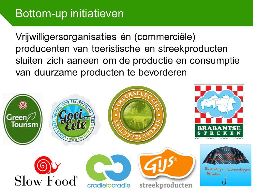Bottom-up initiatieven Vrijwilligersorganisaties én (commerciële) producenten van toeristische en streekproducten sluiten zich aaneen om de productie