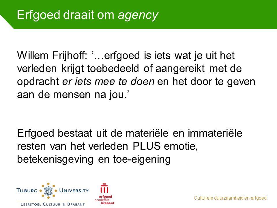Erfgoed draait om agency Culturele duurzaamheid en erfgoed Willem Frijhoff: '…erfgoed is iets wat je uit het verleden krijgt toebedeeld of aangereikt