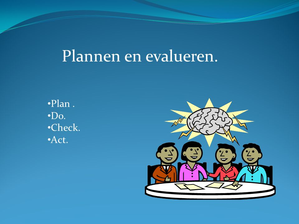 Plannen en evalueren. Plan. Do. Check. Act.