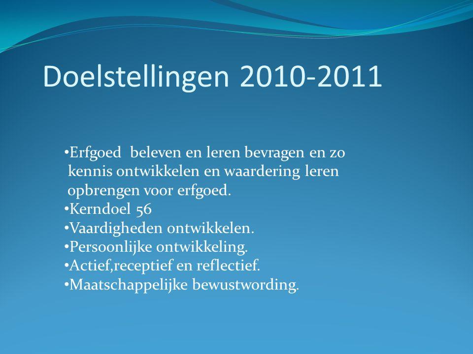 Doelstellingen 2010-2011 Erfgoed beleven en leren bevragen en zo kennis ontwikkelen en waardering leren opbrengen voor erfgoed. Kerndoel 56 Vaardighed