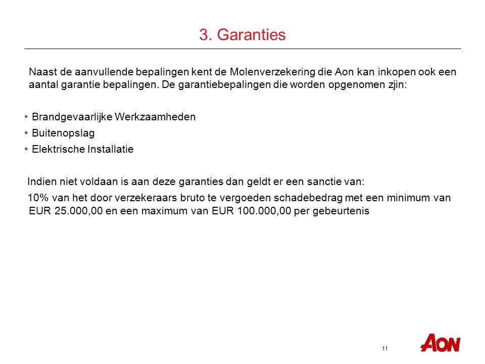 11 3. Garanties Naast de aanvullende bepalingen kent de Molenverzekering die Aon kan inkopen ook een aantal garantie bepalingen. De garantiebepalingen