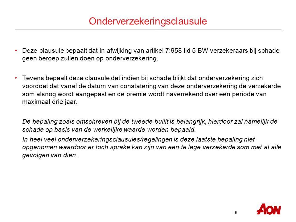 15 Onderverzekeringsclausule Deze clausule bepaalt dat in afwijking van artikel 7:958 lid 5 BW verzekeraars bij schade geen beroep zullen doen op onderverzekering.