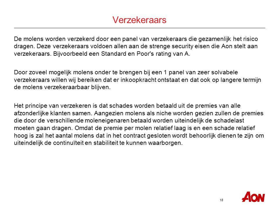 18 Verzekeraars De molens worden verzekerd door een panel van verzekeraars die gezamenlijk het risico dragen. Deze verzekeraars voldoen allen aan de s