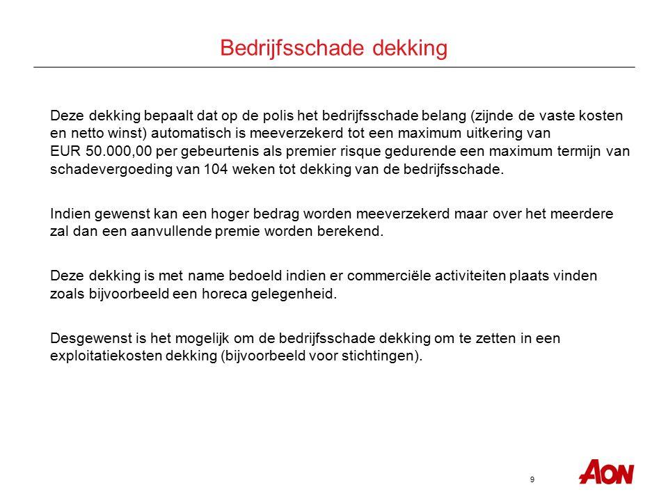 9 Bedrijfsschade dekking Deze dekking bepaalt dat op de polis het bedrijfsschade belang (zijnde de vaste kosten en netto winst) automatisch is meeverzekerd tot een maximum uitkering van EUR 50.000,00 per gebeurtenis als premier risque gedurende een maximum termijn van schadevergoeding van 104 weken tot dekking van de bedrijfsschade.