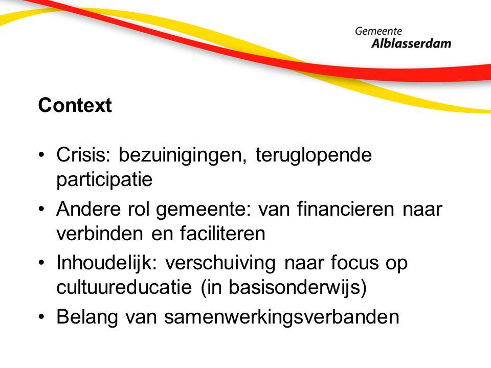 Context Crisis: bezuinigingen, teruglopende participatie Andere rol gemeente: van financieren naar verbinden en faciliteren Inhoudelijk: verschuiving naar focus op cultuureducatie (in basisonderwijs) Belang van samenwerkingsverbanden