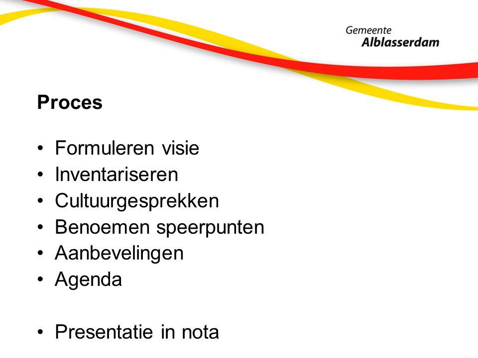 Proces Formuleren visie Inventariseren Cultuurgesprekken Benoemen speerpunten Aanbevelingen Agenda Presentatie in nota