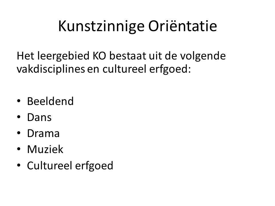 Kunstzinnige Oriëntatie Het leergebied KO bestaat uit de volgende vakdisciplines en cultureel erfgoed: Beeldend Dans Drama Muziek Cultureel erfgoed