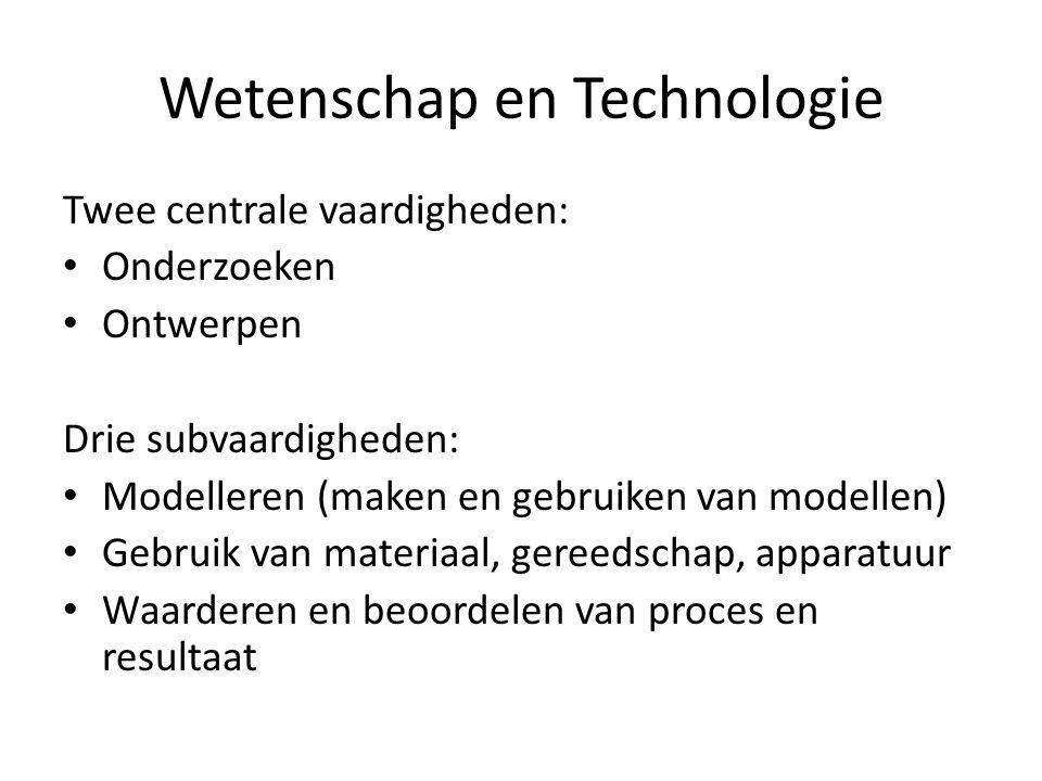 Twee centrale vaardigheden: Onderzoeken Ontwerpen Drie subvaardigheden: Modelleren (maken en gebruiken van modellen) Gebruik van materiaal, gereedscha