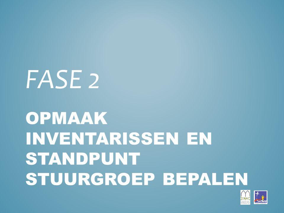 OPMAAK INVENTARISSEN EN STANDPUNT STUURGROEP BEPALEN FASE 2