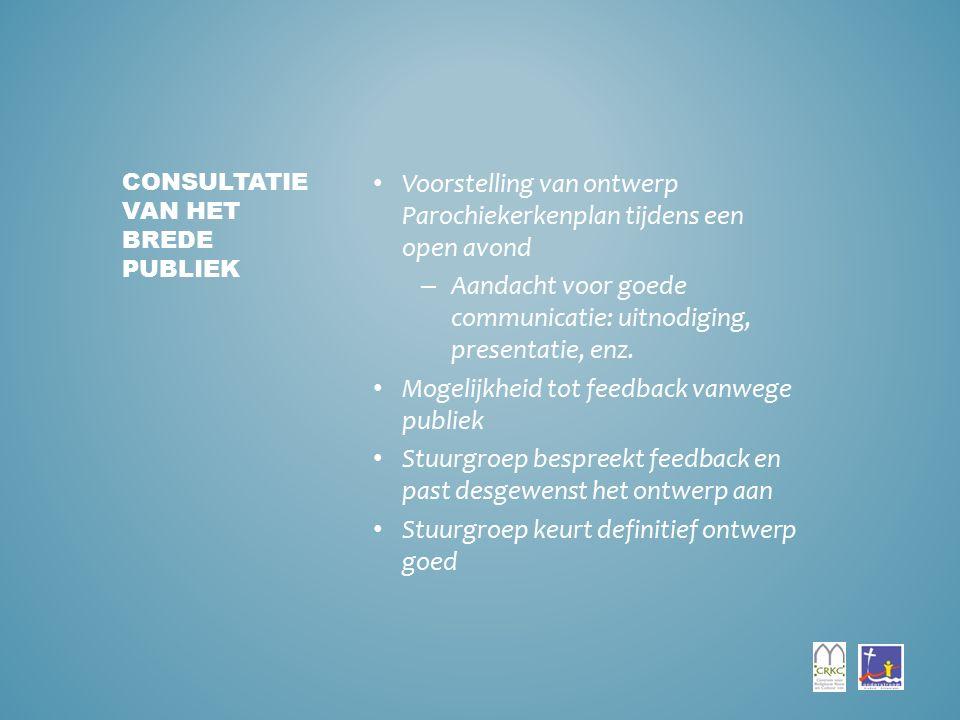 Voorstelling van ontwerp Parochiekerkenplan tijdens een open avond – Aandacht voor goede communicatie: uitnodiging, presentatie, enz.