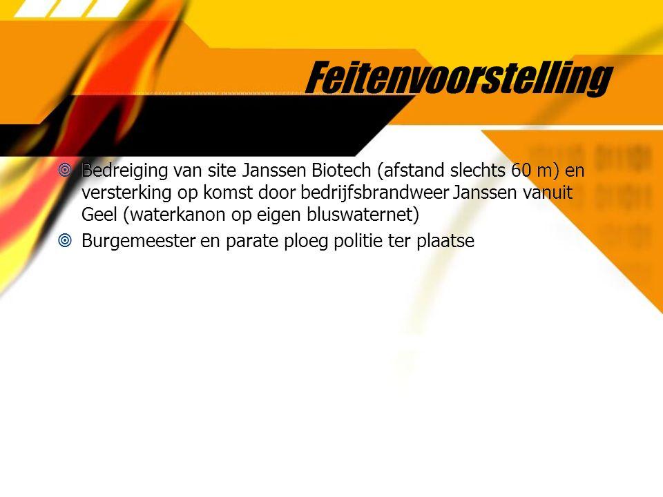 Feitenvoorstelling  Bedreiging van site Janssen Biotech (afstand slechts 60 m) en versterking op komst door bedrijfsbrandweer Janssen vanuit Geel (wa