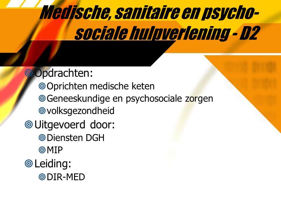 Medische, sanitaire en psycho- sociale hulpverlening - D2  Opdrachten:  Oprichten medische keten  Geneeskundige en psychosociale zorgen  volksgezondheid  Uitgevoerd door:  Diensten DGH  MIP  Leiding:  DIR-MED  Opdrachten:  Oprichten medische keten  Geneeskundige en psychosociale zorgen  volksgezondheid  Uitgevoerd door:  Diensten DGH  MIP  Leiding:  DIR-MED