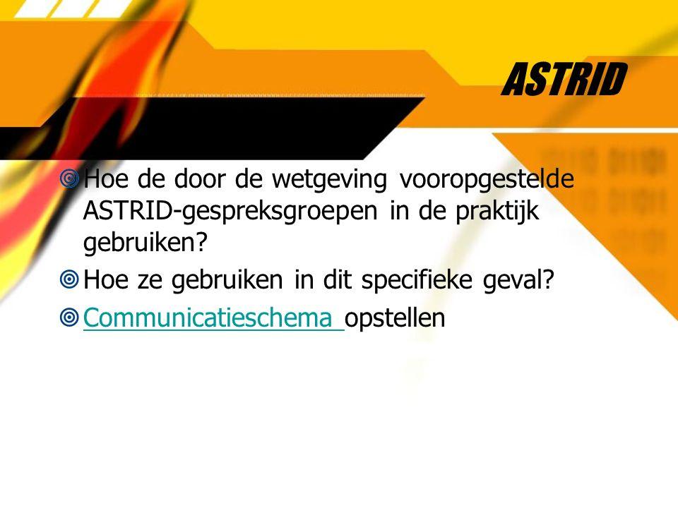 ASTRID  Hoe de door de wetgeving vooropgestelde ASTRID-gespreksgroepen in de praktijk gebruiken?  Hoe ze gebruiken in dit specifieke geval?  Commun
