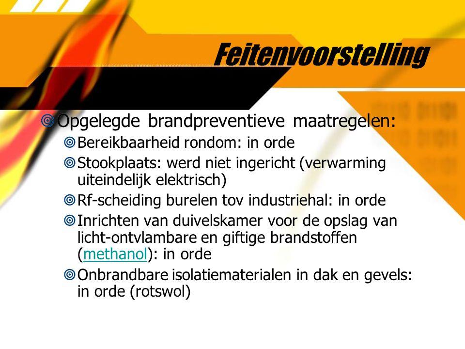 Feitenvoorstelling  Opgelegde brandpreventieve maatregelen:  Bereikbaarheid rondom: in orde  Stookplaats: werd niet ingericht (verwarming uiteindel