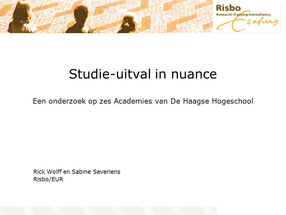 Studie-uitval in nuance Een onderzoek op zes Academies van De Haagse Hogeschool Rick Wolff en Sabine Severiens Risbo/EUR