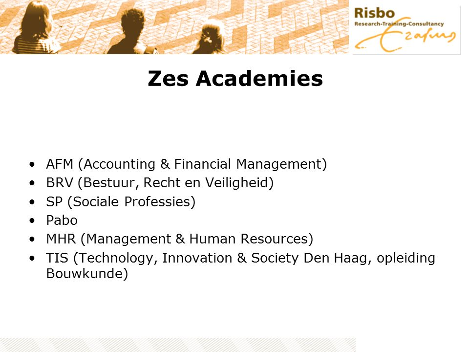 Zes Academies AFM (Accounting & Financial Management) BRV (Bestuur, Recht en Veiligheid) SP (Sociale Professies) Pabo MHR (Management & Human Resources) TIS (Technology, Innovation & Society Den Haag, opleiding Bouwkunde)