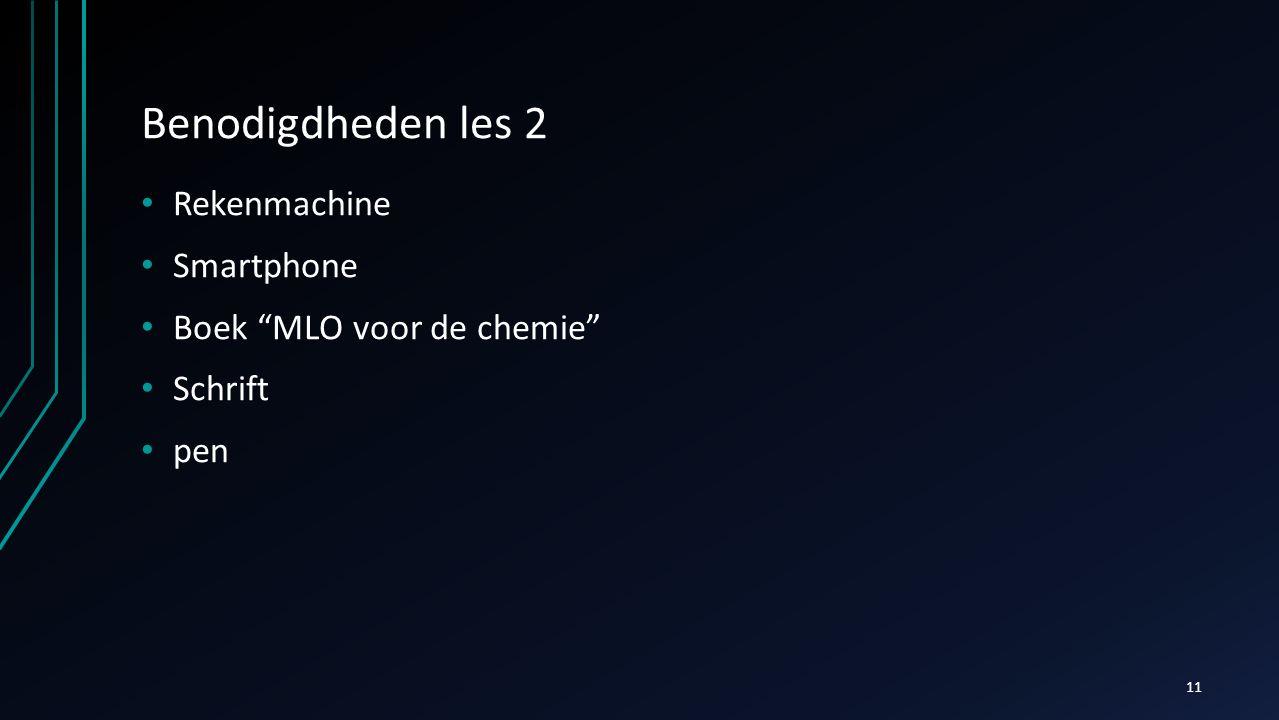 """Benodigdheden les 2 Rekenmachine Smartphone Boek """"MLO voor de chemie"""" Schrift pen 11"""