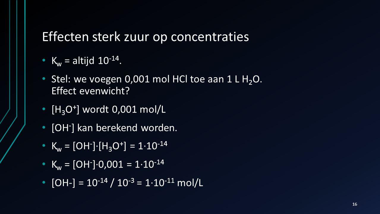 Effecten sterk zuur op concentraties K w = altijd 10 -14. Stel: we voegen 0,001 mol HCl toe aan 1 L H 2 O. Effect evenwicht? [H 3 O + ] wordt 0,001 mo