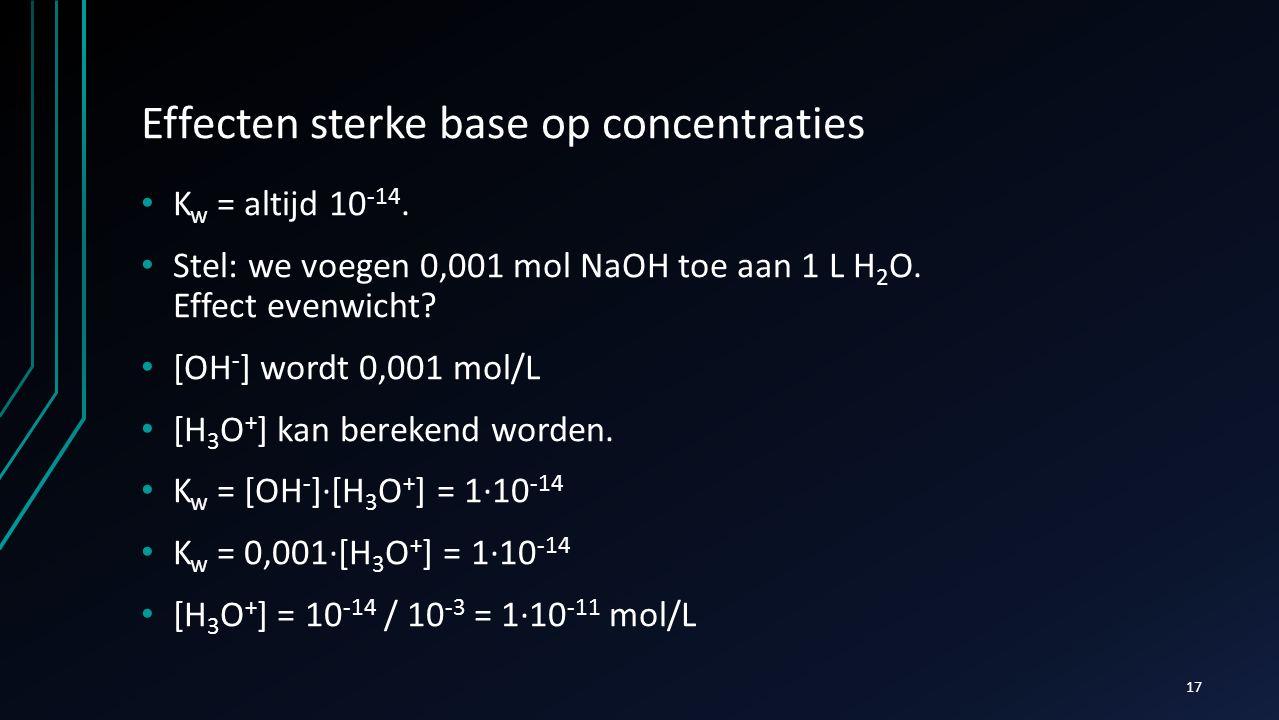 Effecten sterke base op concentraties K w = altijd 10 -14. Stel: we voegen 0,001 mol NaOH toe aan 1 L H 2 O. Effect evenwicht? [OH - ] wordt 0,001 mol