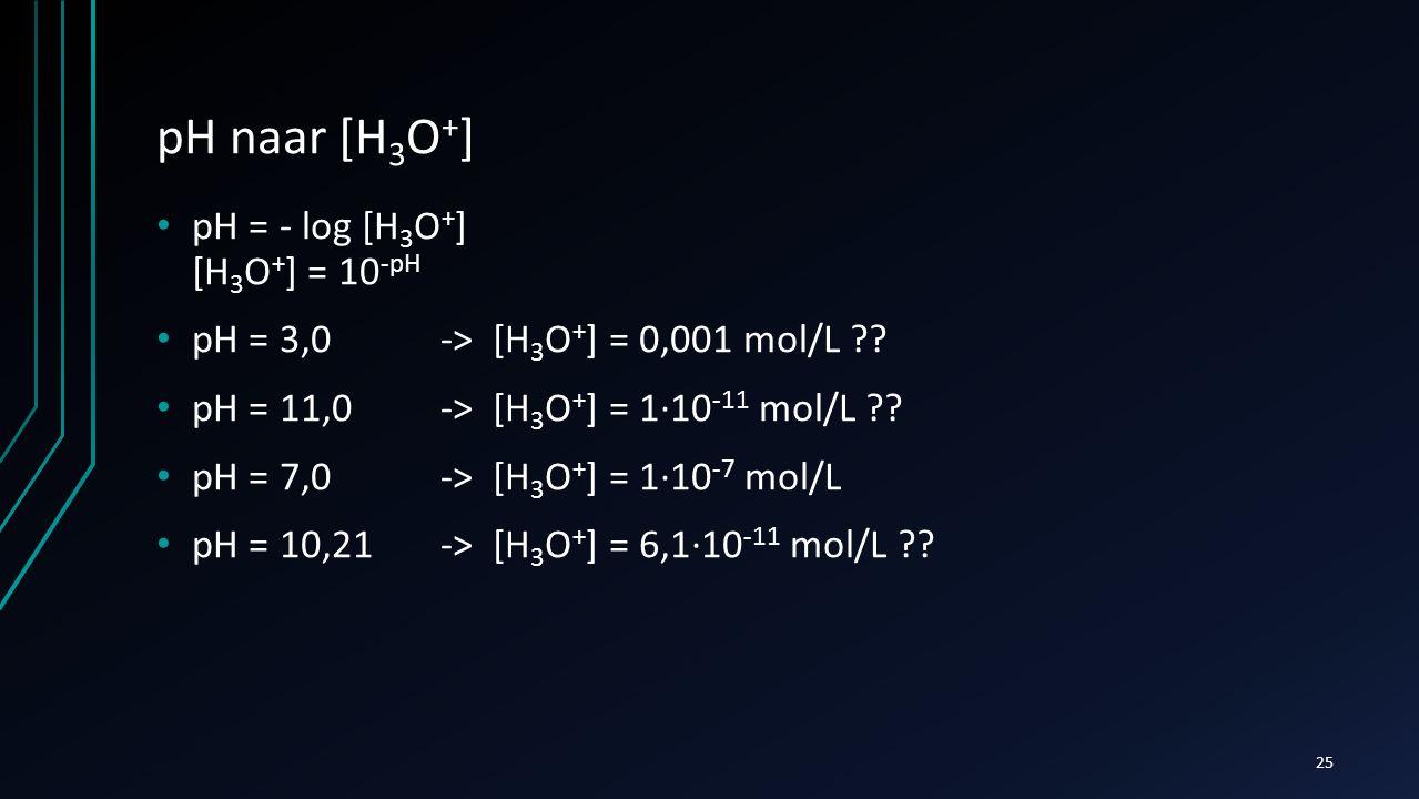pH naar [H 3 O + ] pH = - log [H 3 O + ] [H 3 O + ] = 10 -pH pH = 3,0 -> [H 3 O + ] = 0,001 mol/L ?? pH = 11,0 -> [H 3 O + ] = 1∙10 -11 mol/L ?? pH =