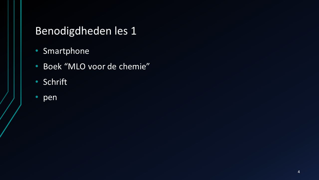 """Benodigdheden les 1 Smartphone Boek """"MLO voor de chemie"""" Schrift pen 4"""
