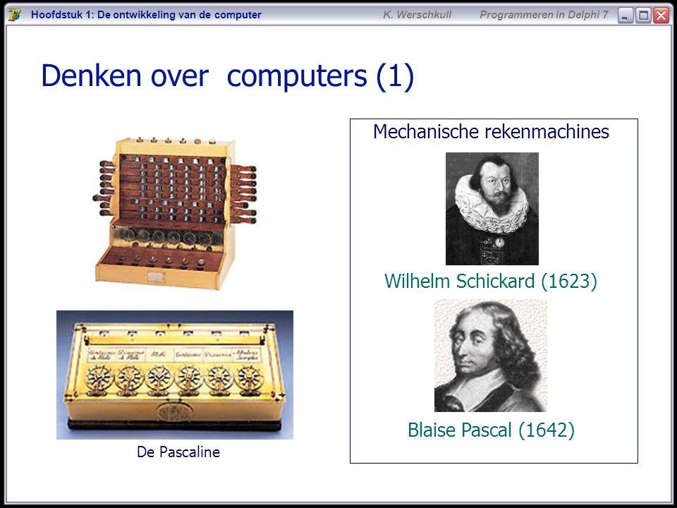 2 K. Werschkull Programmeren in Delphi 7 Denken over computers (1) Mechanische rekenmachines Wilhelm Schickard (1623) Blaise Pascal (1642) Hoofdstuk 1