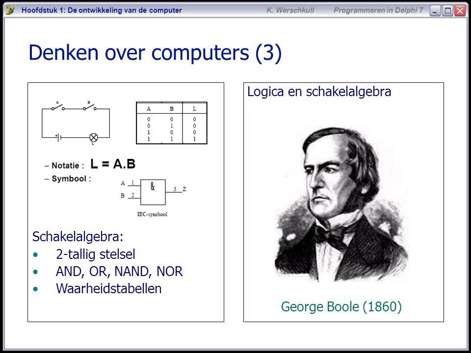 4 K. Werschkull Programmeren in Delphi 7 Denken over computers (3) Logica en schakelalgebra George Boole (1860) Hoofdstuk 1: De ontwikkeling van de co