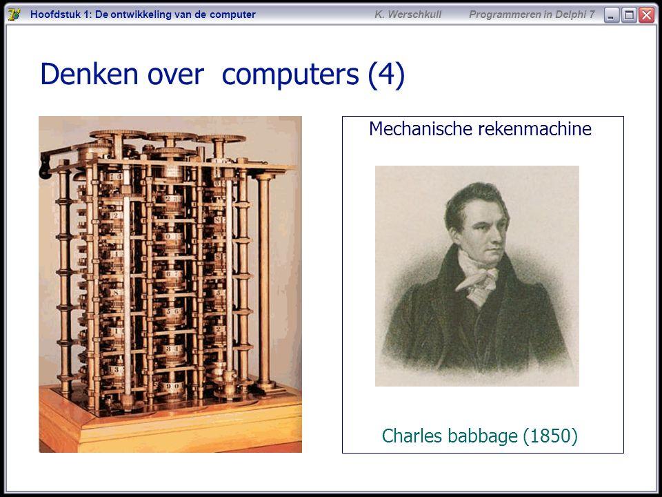 5 K. Werschkull Programmeren in Delphi 7 Denken over computers (4) Mechanische rekenmachine Charles babbage (1850) Hoofdstuk 1: De ontwikkeling van de