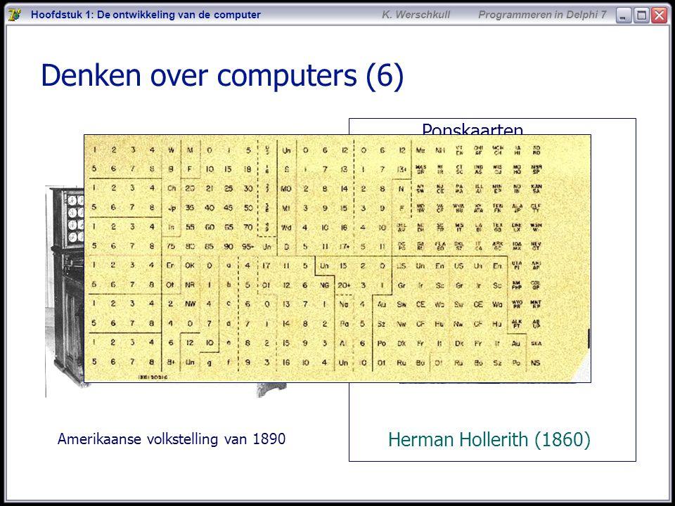 7 K. Werschkull Programmeren in Delphi 7 Denken over computers (6) Ponskaarten Herman Hollerith (1860) Hoofdstuk 1: De ontwikkeling van de computer Am