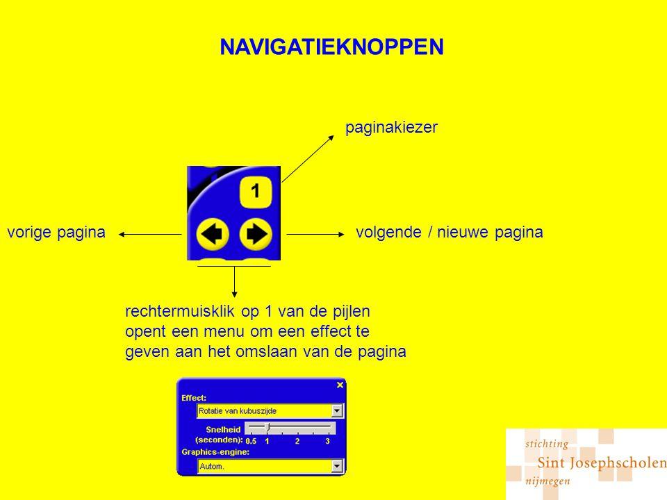NAVIGATIEKNOPPEN volgende / nieuwe paginavorige pagina paginakiezer rechtermuisklik op 1 van de pijlen opent een menu om een effect te geven aan het omslaan van de pagina