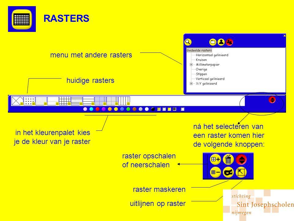 RASTERS in het kleurenpalet kies je de kleur van je raster huidige rasters menu met andere rasters ná het selecteren van een raster komen hier de volgende knoppen: raster opschalen of neerschalen raster maskeren uitlijnen op raster