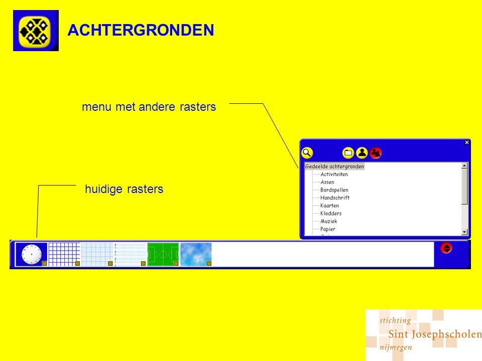 ACHTERGRONDEN huidige rasters menu met andere rasters