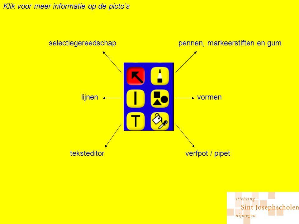 pennen, markeerstiften en gumselectiegereedschap vormenlijnen verfpot / pipetteksteditor Klik voor meer informatie op de picto's