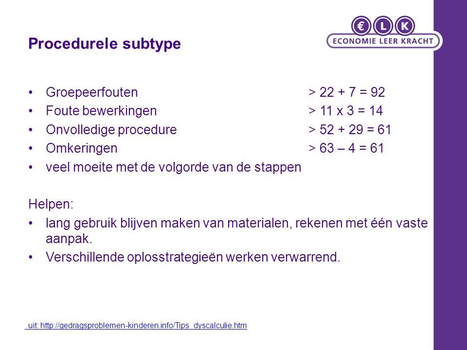 Procedurele subtype Groepeerfouten > 22 + 7 = 92 Foute bewerkingen > 11 x 3 = 14 Onvolledige procedure > 52 + 29 = 61 Omkeringen > 63 – 4 = 61 veel moeite met de volgorde van de stappen Helpen: lang gebruik blijven maken van materialen, rekenen met één vaste aanpak.