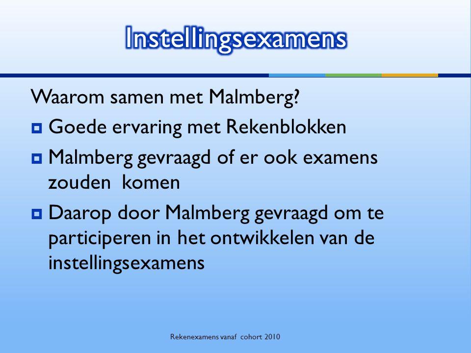 Waarom samen met Malmberg?  Goede ervaring met Rekenblokken  Malmberg gevraagd of er ook examens zouden komen  Daarop door Malmberg gevraagd om te