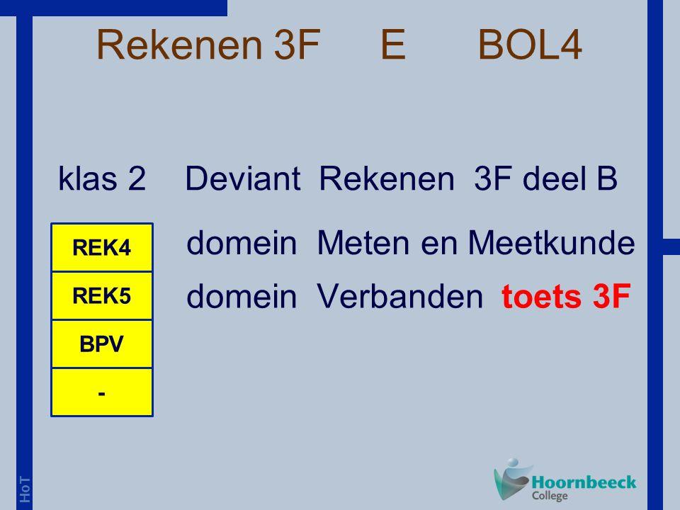 HoT Rekenen 3F E BOL4 klas 2 Deviant Rekenen 3F deel B REK4 REK5 - BPV domein Meten en Meetkunde domein Verbanden toets 3F